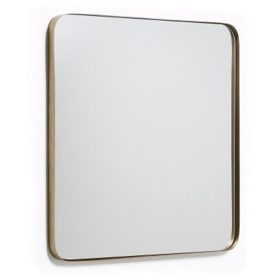 Vang Metal Frame Square Wall Mirror, 60cm, Gold