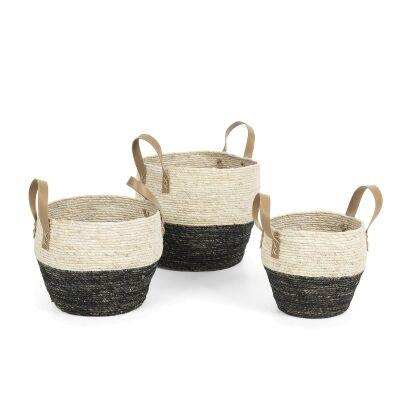 Coen 3 Piece Maize Leaf Basket Set