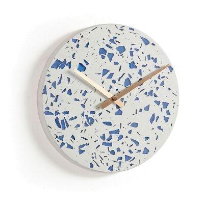 Luis Terazzo Round Wall Clock, 27cm, Blue