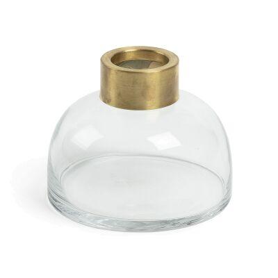 Hines Glass Squat Bud Vase, Meidum, Clear