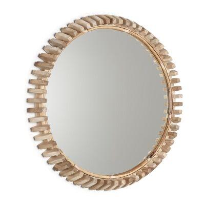Hockham Teak Timber Frame Round Wall Mirror, 52cm