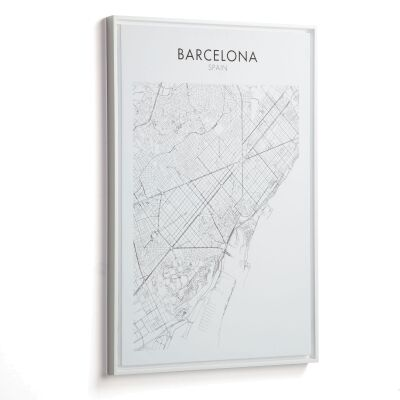 Uptown Map Framed Canvas Wall Art Print, Barcelona, 70cm