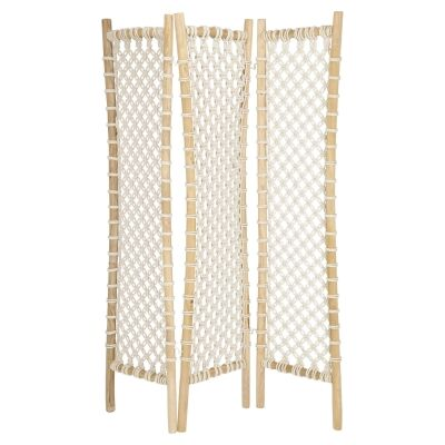 Ruthwell Teak Timber & Cotton Rope Tri-fold Screen