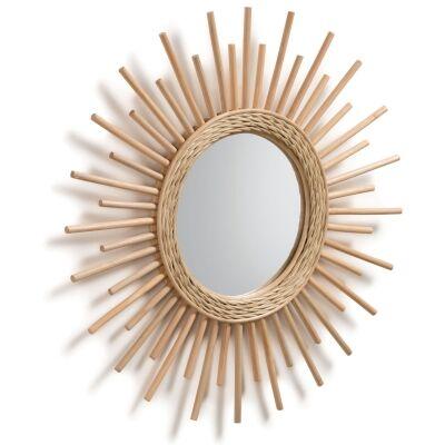 Birtley Handmade Rattan Frame Round Wall Mirror, 60cm, Natural
