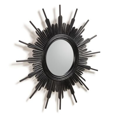 Birtley Handmade Rattan Frame Round Wall Mirror, 70cm, Black