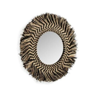 Shinto Hand Braided Mendong Grass Frame Round Wall Mirror, 60cm