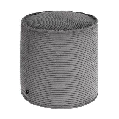 Lorton Corduroy Fabric Round Ottoman Stool, Dark Grey