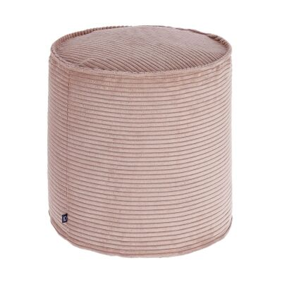 Lorton Corduroy Fabric Round Ottoman Stool, Blush