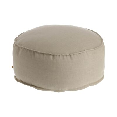 Moana Fabric Round Pouf, Beige