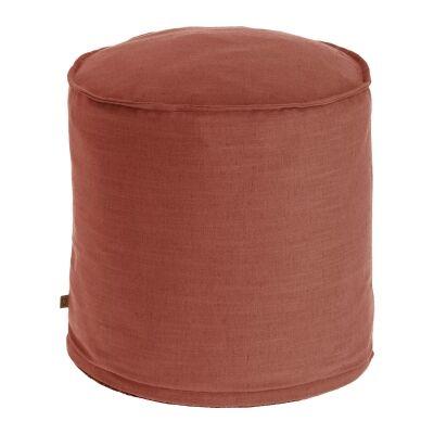 Moana Fabric Round Ottoman Stool, Maroon