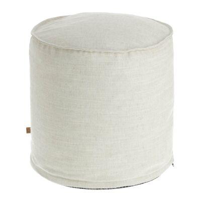 Moana Fabric Round Ottoman Stool, White