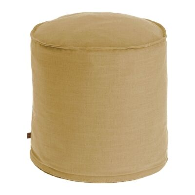 Moana Fabric Round Ottoman Stool, Mustard