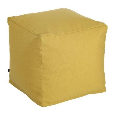 Amold Fabric Square Pouf, Mustard