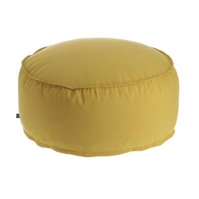 Amold Fabric Round Pouf, Mustard