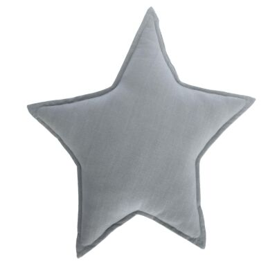 Noosa Organic Cotton Star Cushion, Blue Grey