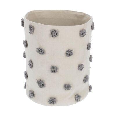 Bostik Handmade Cotton Basket, Large, Beige / Grey