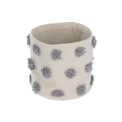 Bostik Handmade Cotton Basket, Small, Beige / Grey