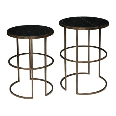 Lavilla 2 Piece Marble Topped Iron Round Side Table Set