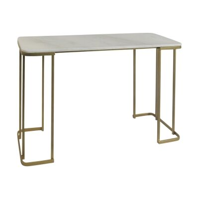 Darnell Marble Topped Iron Console Table, 126cm