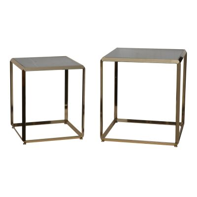 Landon 2 Piece Marble Topped Iron Square Side Table Set