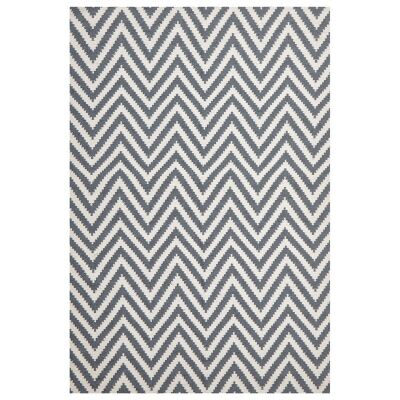 Modern Double Sided Flat Weave Chevron Design Cotton & Jute Rug in Blue - 225x155cm