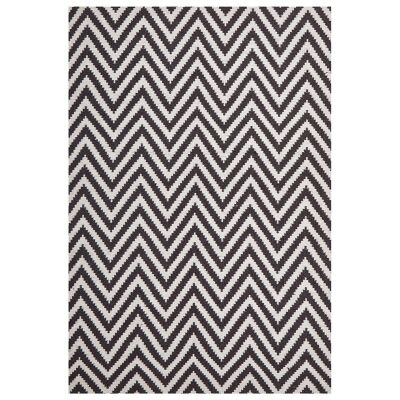 Modern Double Sided Flat Weave Chevron Design Cotton & Jute Rug in Chocolate - 280x190cm