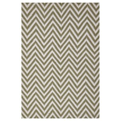Modern Double Sided Flat Weave Chevron Design Cotton & Jute Rug in Green - 225x155cm