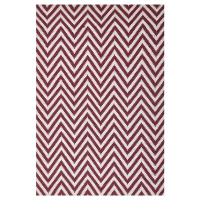 Modern Double Sided Flat Weave Chevron Design Cotton & Jute Rug in Red - 225x155cm