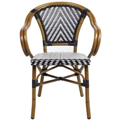 Amalfi Commercial Grade Wicker & Aluminium Indoor / Outdoor Dining Armchair, Black