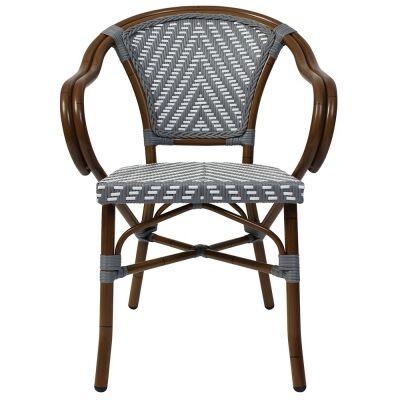 Amalfi Commercial Grade Wicker & Aluminium Indoor/Outdoor Dining Armchair, Grey