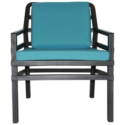 Aria Italian Made Commercial Grade Outdoor Armchair, Anthracite / Teal