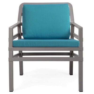 Aria Italian Made Commercial Grade Outdoor Armchair, Taupe / Teal