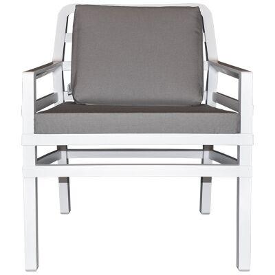 Aria Italian Made Commercial Grade Outdoor Armchair, White / Light Grey