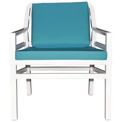 Aria Italian Made Commercial Grade Outdoor Armchair, White / Teal