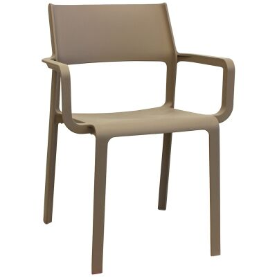 Trill Italian Made Commercial Grade Indoor / Outdoor Dining Armchair, Taupe