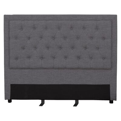 Arwen Tufted Fabric Bed Headboard, King, Dark Grey