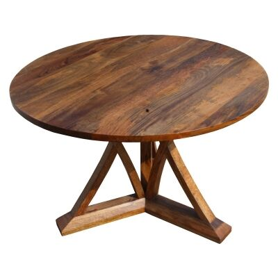 Merle Mango Wood Round Dining Table, 120cm, Natural