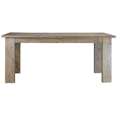 Neasham Solid Mango Wood Timber Dining Table, 220cm, White Washed Natural