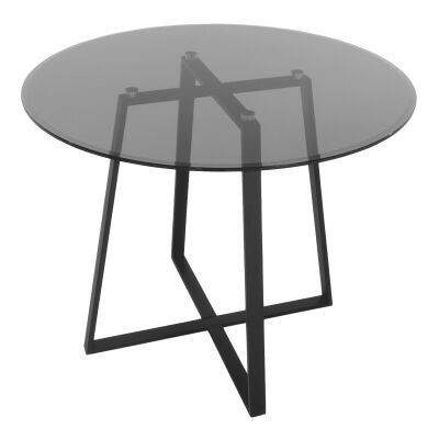 Akira Round Dining Table, 120cm, Smokey Grey / Black