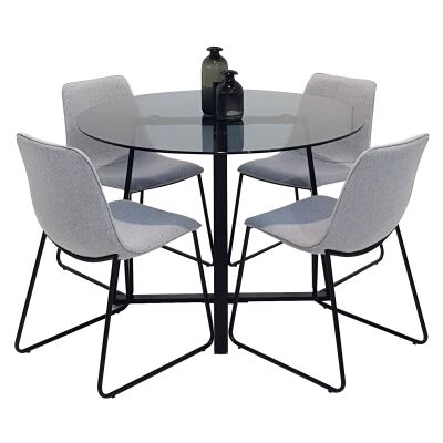 Akira 5 Piece Round Dining Table Set, 120cm, with Fins Chair
