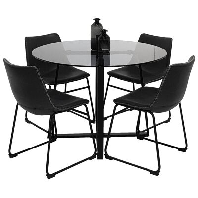 Akira 5 Piece Round Dining Table Set, 120cm, with Perry Chair