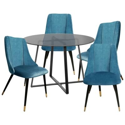 Akira 5 Piece Round Dining Table Set, 120cm, with Sofia Chair, Black