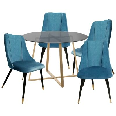 Akira 5 Piece Round Dining Table Set, 120cm, with Sofia Chair, Gold