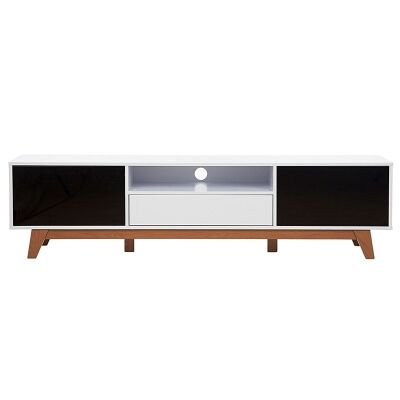 Altitude Gloss White and Black Entertainment Unit - 180cm