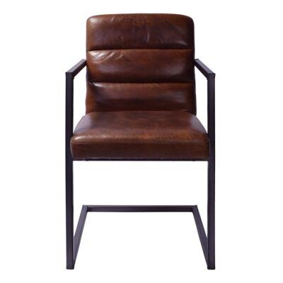 Sandyford Aged Leather & Metal Swing Leg Dining Chair