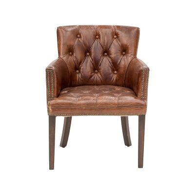 Baldhere Aged Leather Dining Armchair, Cigar