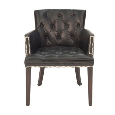 Baldhere Aged Leather Dining Armchair, Black