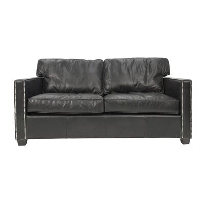 Chatham Aged Leather Sofa, 2 Seater, Black