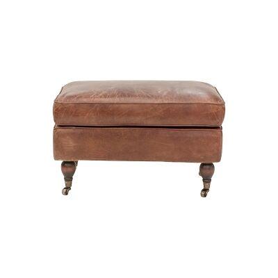 Bilston Aged Leather Ottoman