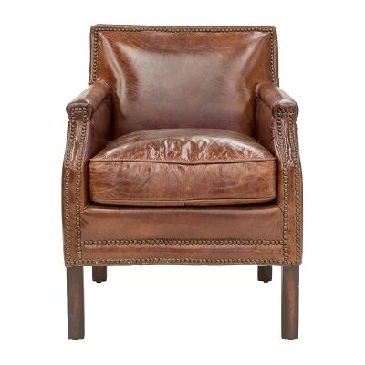 Brewster Aged Leather Armchair, Cigar